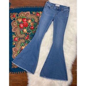 Free People Denim Super Flare Frayed Hem Jeans